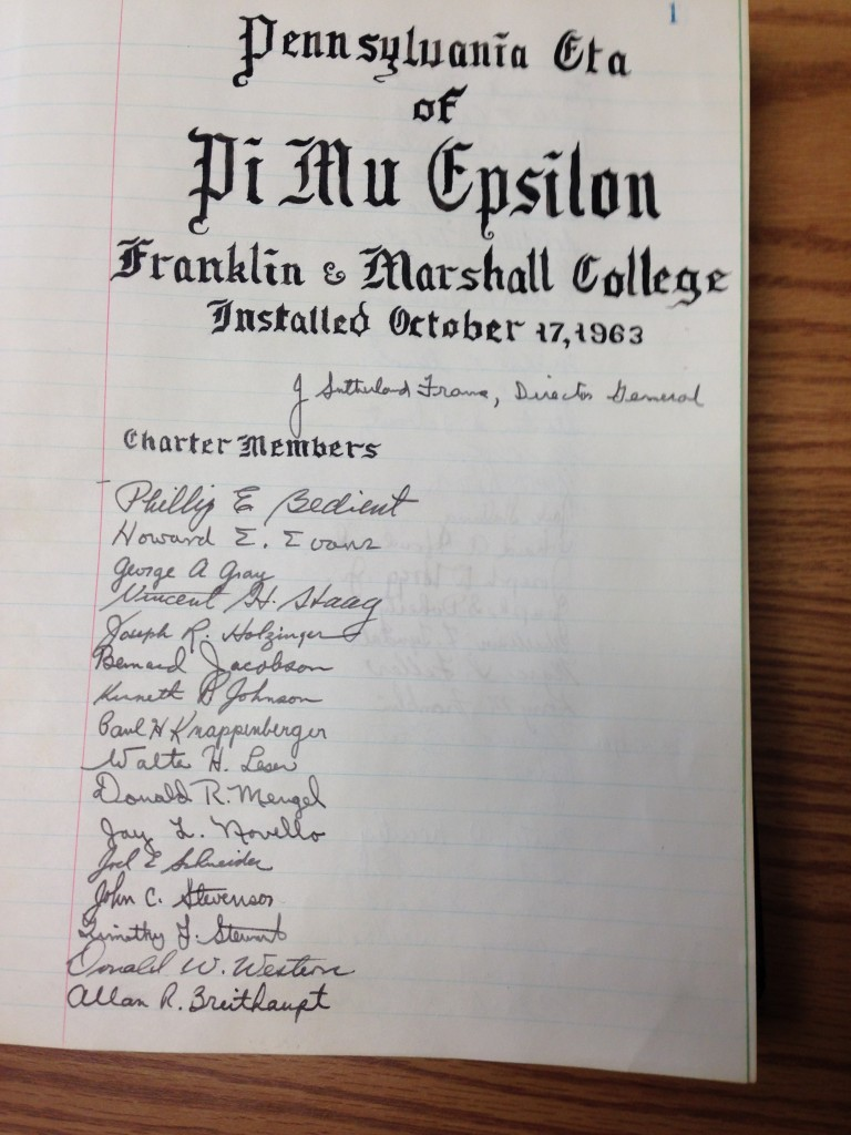 PA Eta at Franklin and Marshall College - 1963