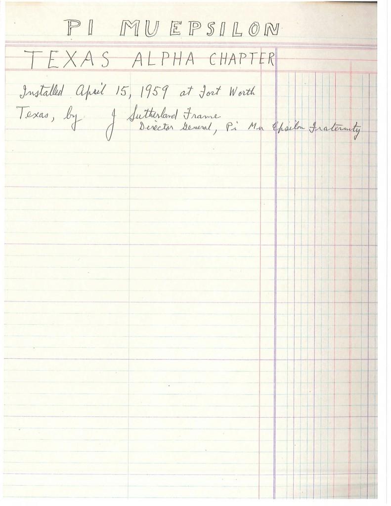 TX Alpha at Texas Christian University - 1959, page 1